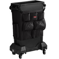 Rubbermaid Slim Jim 23 Gallon Black Trash Can with Black Caddy Bag and Dolly