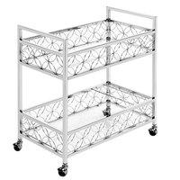 The Jay Companies 1840041 30 inch x 15 inch x 32 inch Silver Metal and Glass 2 Tier Bar Cart