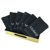 13 inch x 13 inch 100% Cotton Black Makeup Wash Cloth 1 lb. - 12/Pack