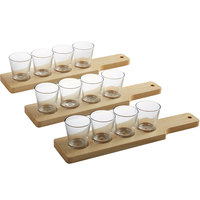 Acopa 14 1/2 inch Natural Finish Flight Paddles with 3 oz. Taster Glasses   - 3/Set