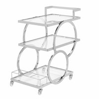 The Jay Companies 1840039 30 inch x 17 inch x 32 inch Silver Metal and Glass 3 Tier Bar Cart