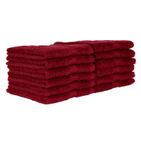 12 inch x 12 inch 100% Ring Spun Cotton Burgundy Wash Cloth 1 lb. - 12/Pack