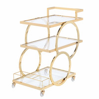 The Jay Companies 1840040 30 inch x 17 inch x 32 inch Gold Metal and Glass 3 Tier Bar Cart