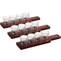 Acopa 14 1/2 inch Mahogany Finish Flight Paddles with 3 oz. Taster Glasses   - 3/Set
