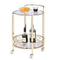 The Jay Companies 1840046 21 inch x 19 inch x 29 inch Gold Metal and Glass 2 Tier Bar Cart