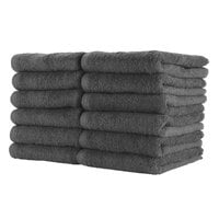 16 inch x 27 inch 100% Ring Spun Cotton Charcoal Bleach-Safe Hand Towel 2.5 lb. - 12/Pack