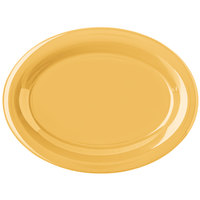 Carlisle 4308222 Durus 12 inch Honey Yellow Oval Melamine Platter - 12/Case