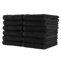 16 inch x 27 inch 100% Ring Spun Cotton Black Bleach-Safe Hand Towel 2.5 lb. - 12/Pack