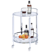 The Jay Companies 1840045 21 inch x 19 inch x 29 inch Silver Metal and Glass 2 Tier Bar Cart
