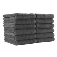 16 inch x 27 inch 100% Ring Spun Cotton Charcoal Bleach-Safe Hand Towel 2.5 lb. - 180/Case