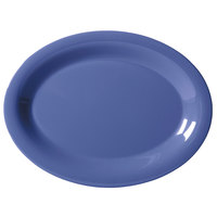 GET OP-135-PB Diamond Mardi Gras 13 1/2 inch x 10 1/4 inch Peacock Blue Oval Melamine Platter - 12/Case