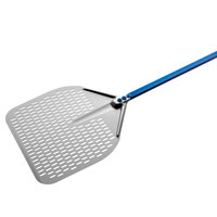 GI Metal A-37RF/180 Azzurra 14 inch Anodized Aluminum Square Perforated Pizza Peel with 70 inch Handle