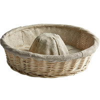 Matfer Bourgeat 118523 13 3/8 inch Crown-Shaped Linen-Lined Wicker Round Banneton Proofing Basket