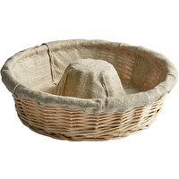 Matfer Bourgeat 118520 10 1/4 inch Crown-Shaped Linen-Lined Wicker Round Banneton Proofing Basket