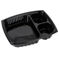 Dart B30DE3 ClearPac 32 oz. Black Rectangular 3 Compartment Plastic Container - 252/Case