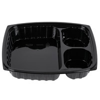 Dart B30DE3 ClearPac 32 oz. Black Rectangular 3 Compartment Plastic Container - 252/Case