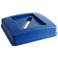Carlisle 343937REC14 Centurian 35 Gallon Blue Square Gallon Recycling Bin Lid with Paper Slot