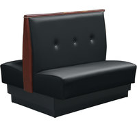 American Tables & Seating QAD-42TB-3-ARM-126-M 46 inch Tsunami Black Double Fully Upholstered 3 Button Booth