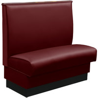 American Tables & Seating QASC-42-SANGRIA-TOP CAPS 45 1/2 inch Sangria Plain Single Back Fully Upholstered Booth with Wood Top Cap