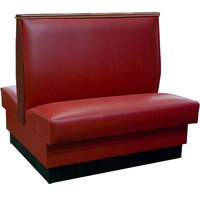 American Tables & Seating QADC-42-SANGRIA-TOP CAPS 45 1/2 inch Sangria Plain Double Back Fully Upholstered Booth with Wood Top Cap