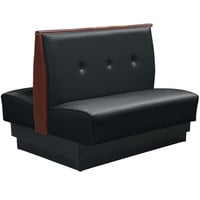 American Tables & Seating QAD-36TB-3-ARM-126-M 46 inch Tsunami Black Double Fully Upholstered 3 Button Booth
