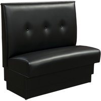 American Tables & Seating QAS-36TB-3-ARM-126-M 46 inch Tsunami Black Single Fully Upholstered Booth