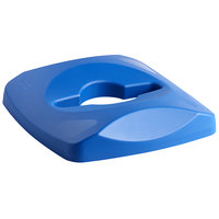 Rubbermaid 1788374 Untouchable 23 Gallon Blue Square Recycling Lid with Mixed Recycling Opening