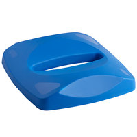 Rubbermaid FG269000BLUE Untouchable 23 Gallon Blue Square Recycling Lid with Slot for Paper