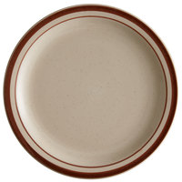 World Tableware DSD-8 Desert Sand 9 inch Brown Speckle Ivory (American White) Narrow Rim Stoneware Plate with Brown Bands - 24/Case