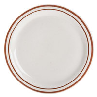 World Tableware DSD-9 Desert Sand 9 1/2 inch Brown Speckle Ivory (American White) Narrow Rim Stoneware Plate with Brown Bands - 24/Case
