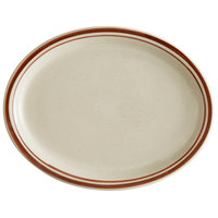 World Tableware DSD-12 Desert Sand 9 1/2 inch x 7 1/2 inch Brown Speckle Ivory (American White) Narrow Rim Stoneware Platter with Brown Bands - 24/Case