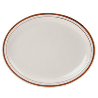 World Tableware DSD-13 Desert Sand 11 1/2 inch x 9 1/8 inch Brown Speckle Ivory (American White) Narrow Rim Stoneware Platter with Brown Bands - 12/Case
