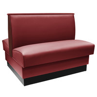 American Tables & Seating QADC-36-SANGRIA-END CAPS 45 1/2 inch Sangria Plain Double Back Fully Upholstered Booth with Wood End Caps