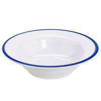 GET B-50-W/CB Settlement Bistro 4.5 oz. White Enamelware Melamine Small Round Side Dish with Cobalt Blue Trim   - 48/Case