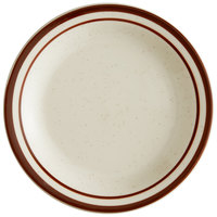 World Tableware DSD-6 Desert Sand 6 1/2 inch Brown Speckle Ivory (American White) Narrow Rim Stoneware Plate with Brown Bands - 36/Case