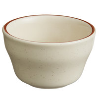 World Tableware DSD-4 Desert Sand 7.25 oz. Brown Speckle Ivory (American White) Narrow Rim Stoneware Bouillon with Brown Band - 36/Case