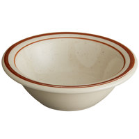 World Tableware DSD-11 Desert Sand 4 oz. Brown Speckle Ivory (American White) Narrow Rim Stoneware Fruit Bowl with Brown Bands - 36/Case