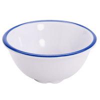 GET B-30-W/CB Settlement Bistro 3 oz. White Enamelware Melamine Small Round Side Dish with Cobalt Blue Trim   - 48/Case
