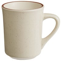 World Tableware DSD-17 Desert Sand 8.5 oz. Brown Speckle Ivory (American White) Narrow Rim Stoneware Mug with Brown Band - 36/Case