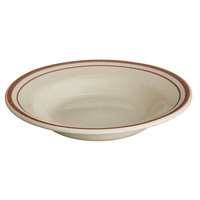World Tableware DSD-3 Desert Sand 12 oz. Brown Speckle Ivory (American White) Narrow Rim Stoneware Soup Bowl with Brown Bands - 24/Case