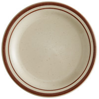World Tableware DSD-5 Desert Sand 5 1/2 inch Brown Speckle Ivory (American White) Narrow Rim Stoneware Plate with Brown Bands - 36/Case