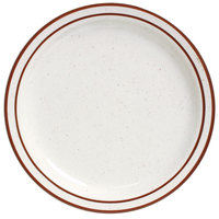 World Tableware DSD-16 Desert Sand 10 1/2 inch Brown Speckle Ivory (American White) Narrow Rim Stoneware Plate with Brown Bands - 12/Case
