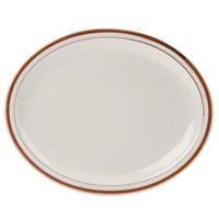 World Tableware DSD-14 Desert Sand 13 1/4 inch x 10 1/8 inch Brown Speckle Ivory (American White) Narrow Rim Stoneware Platter with Brown Bands - 12/Case