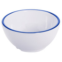 GET B-140-W/CB Settlement Bistro 14 oz. White Enamelware Melamine Round Bowl with Cobalt Blue Trim   - 24/Case