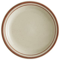 World Tableware DSD-7 Desert Sand 7 1/4 inch Brown Speckle Ivory (American White) Narrow Rim Stoneware Plate with Brown Bands - 36/Case