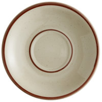 World Tableware DSD-2 Desert Sand 6 inch Brown Speckle Ivory (American White) Narrow Rim Stoneware Saucer with Brown Bands - 36/Case