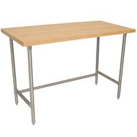 Advance Tabco TH2G-307 Wood Top Work Table with Galvanized Base - 30 inch x 84 inch