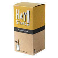 HAY! Straws 7 3/4 inch Natural Wheat Biodegradable Drinking Straws - 500/Pack