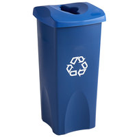 Rubbermaid Untouchable 23 Gallon Blue Square Recycle Bin Kit with Mixed Recycle Slot Lid
