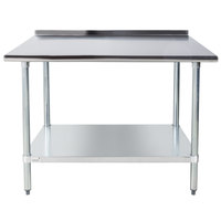 Advance Tabco FLAG-244-X 24 inch x 48 inch 16 Gauge Stainless Steel Work Table with 1 1/2 inch Backsplash and Galvanized Undershelf